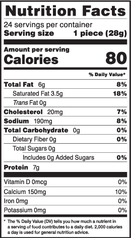 Nutrition facts for 1 oz. LMPS 24-ct Carton