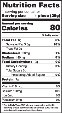 Nutrition facts for 1 oz. LMPS