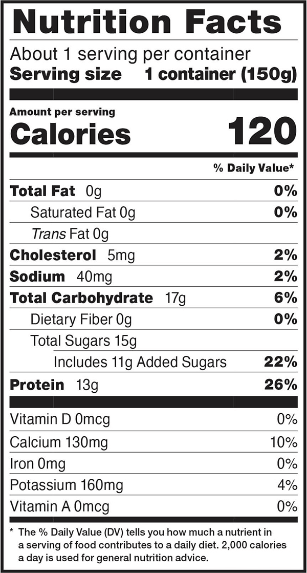 Nutrition facts for 5.3 OZ. Blueberry