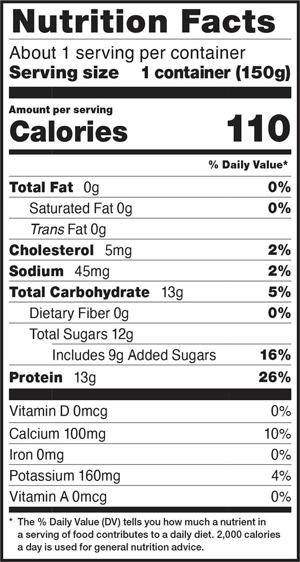Nutrition facts for 5.3 OZ. Vanilla